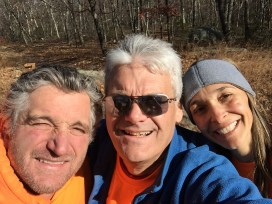 Water stop volunteer selfie - Mike Paletta, Chris Cassone, and Michelle Zandona. (photo by Chris Cassone)