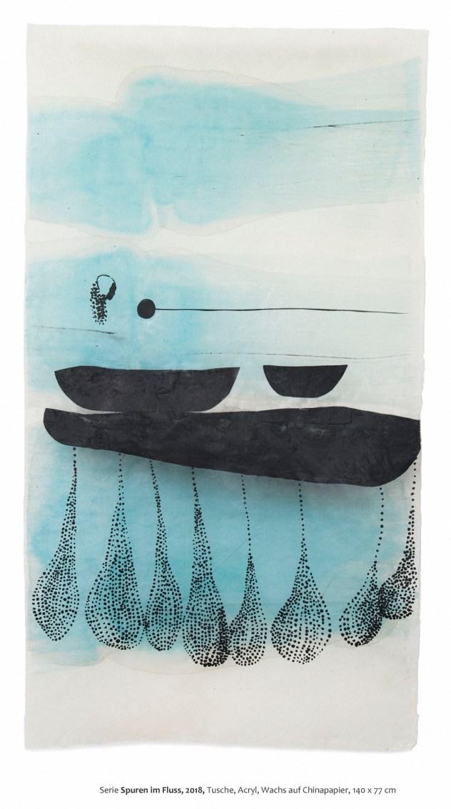 Barbara Ehrmann: im fluss (spuren_1) 2018, 140 x 77 cm