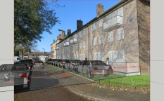 Ravensbury Court showing reduced green space, with 2m patio, path, parking and widened road