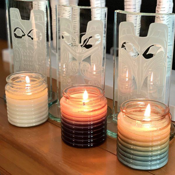 Barrel Haida candles burning