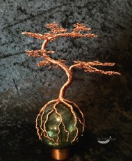 Crazy Twisy Copper Bonsai Tree on Labradorite Sphere Sculpture