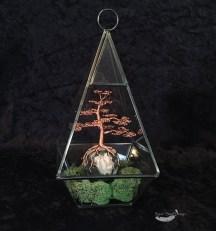 Copper Wire Bonsai Tree on Moss Agate Sphere Terrarium