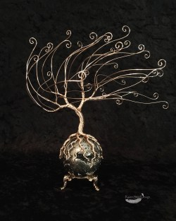 """The Golden Tree"" Windblown Wire Tree on Pyrite Sphere Sculpture"