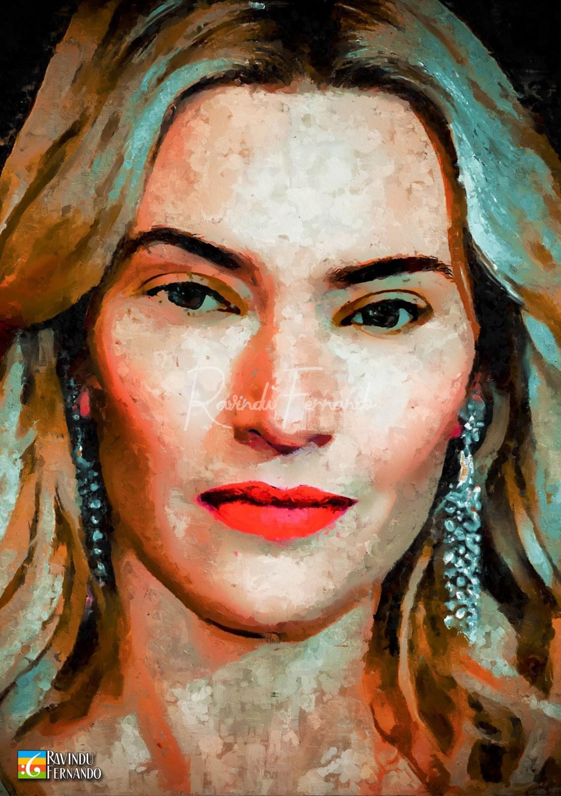 Kate Winselt Digital Oil Painting by Ravindu Fernando