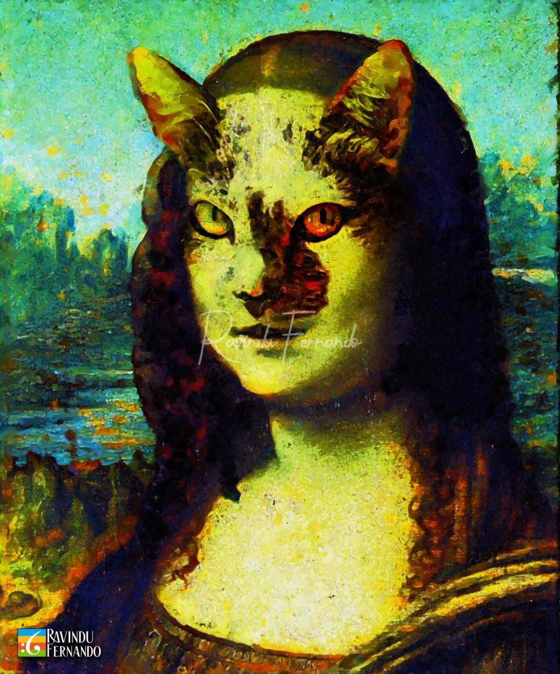 Monaliza Cat - Digital Oil Painting By Ravindu Fernando