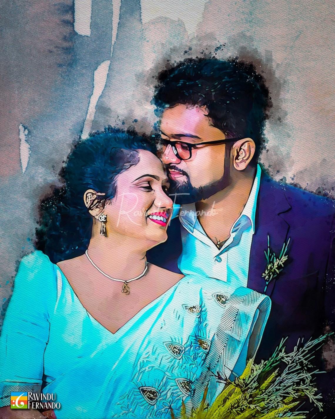 Dhanushka Thilakarathne and her husband - Digital Watercolor Painting