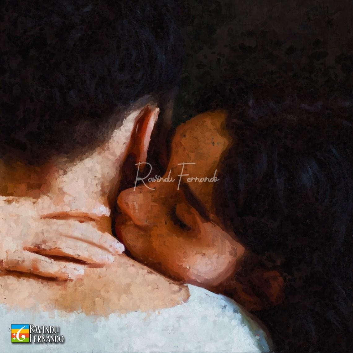 Love Digital Oil Painting by Ravindu Fernando