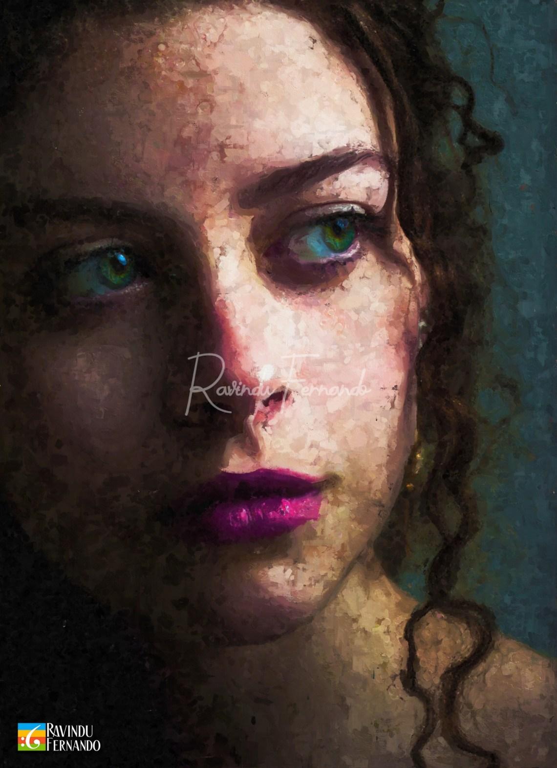 Dreamy Eyes - Digital Oil Painting By Ravindu Fernando