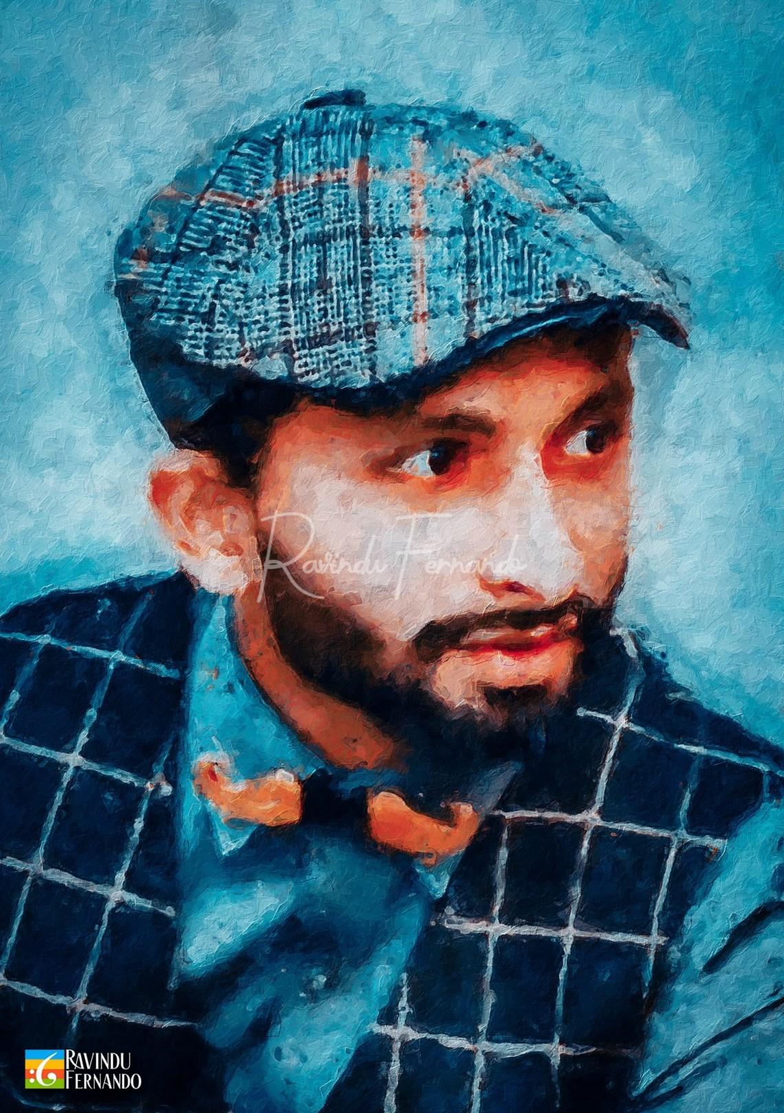 Viraj Wanniarachchi Digital Oil Painting by Ravindu Fernando