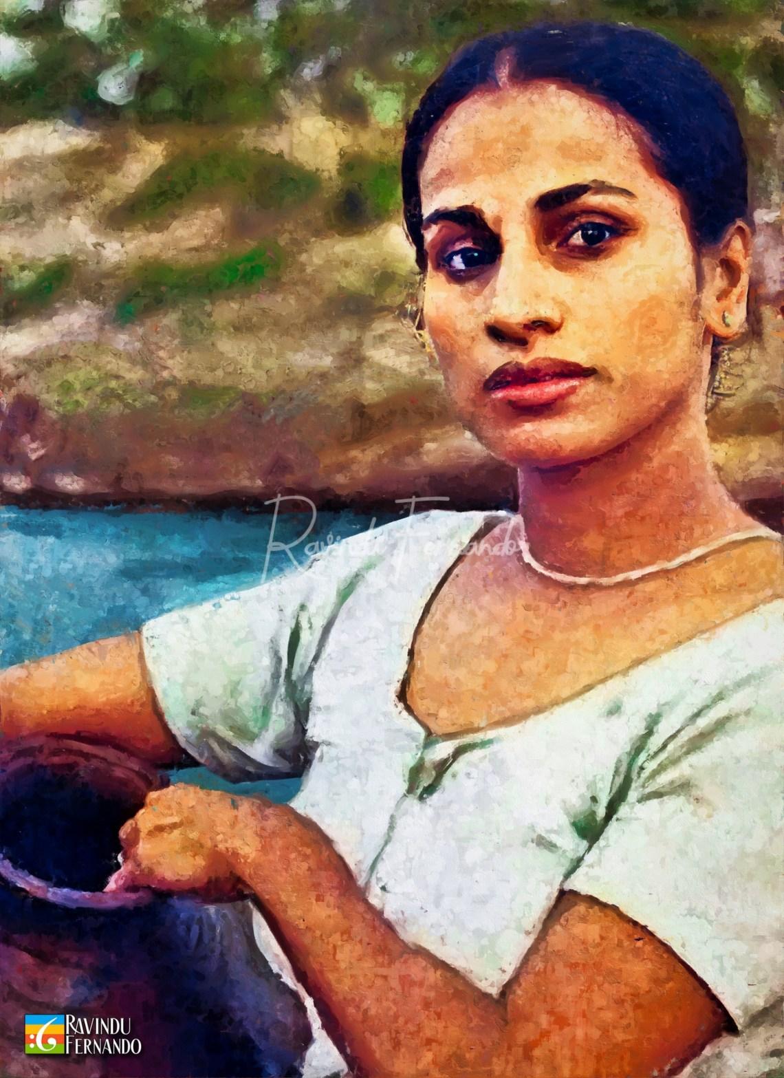 Swarna Mallawarachchi Digital Oil Painting by Ravindu Fernando