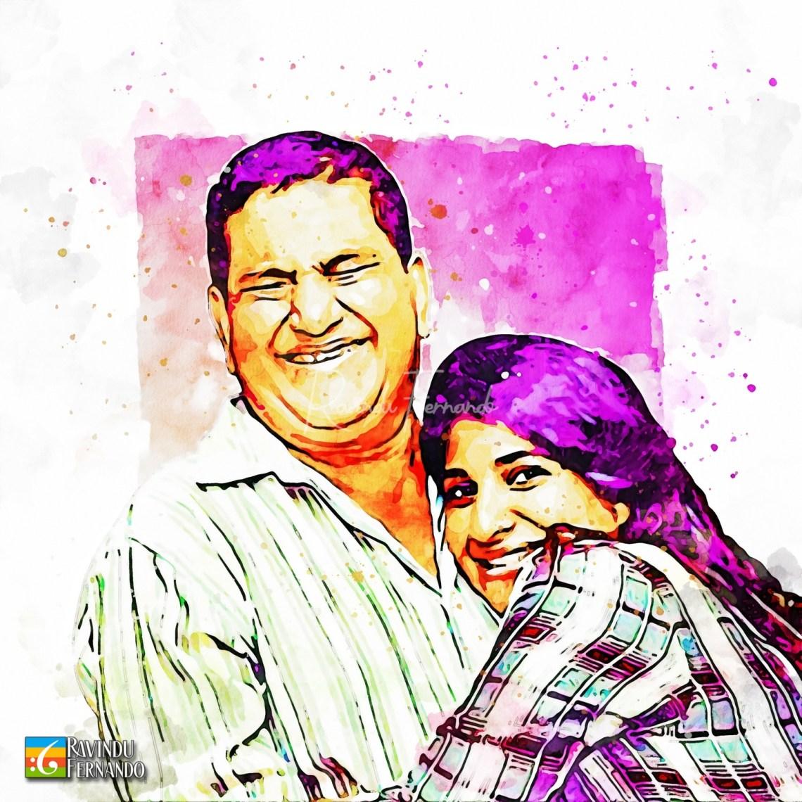 Samanalee Fonseka and her father - Digital Watercolor Painting