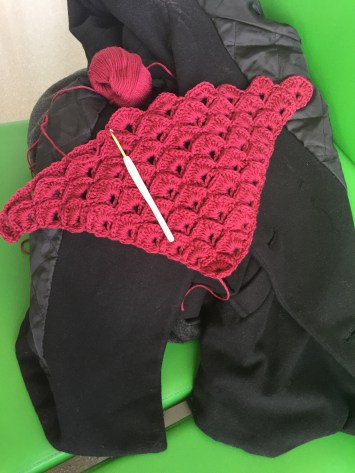 The shawl I started on the flight (it's much bigger now)