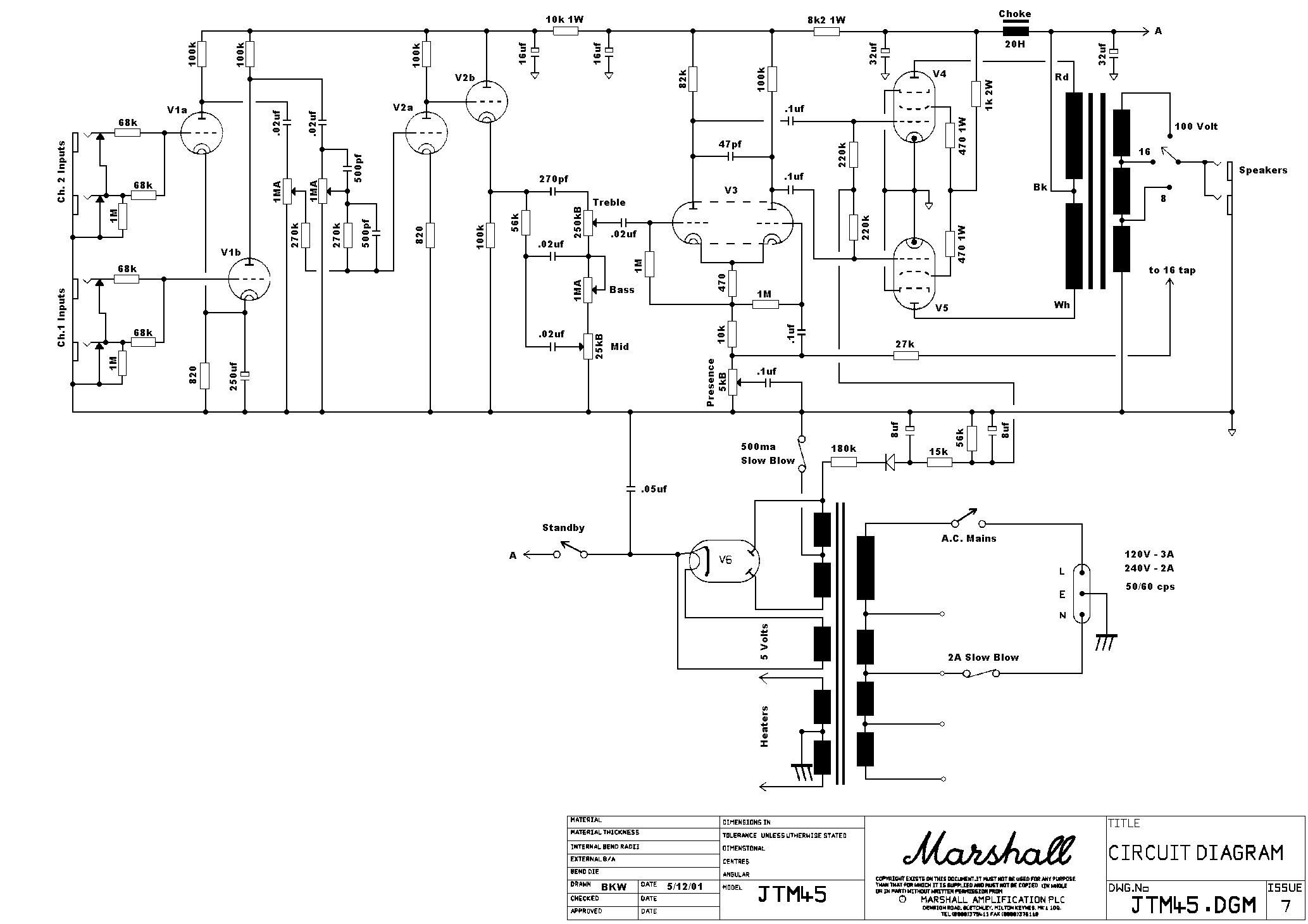 Understanding The Basic Tube Amp Circuit The Marshall Jtm
