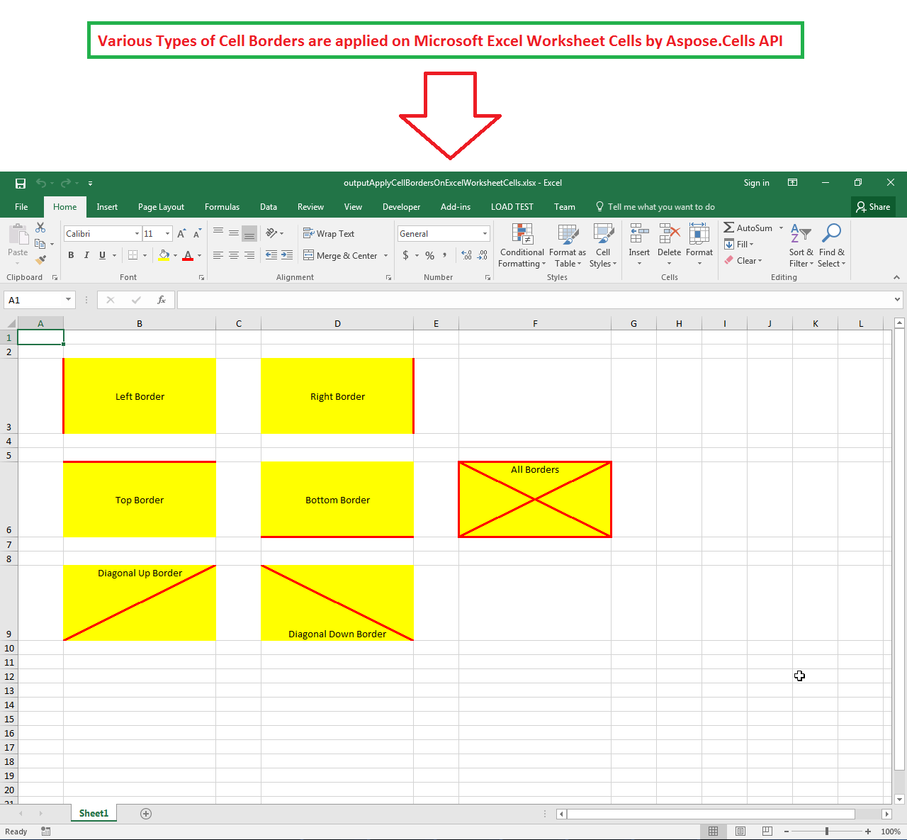 Apply Cell Borders On Excel Worksheet Cells In C