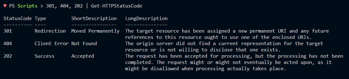 HTTP Return Codes Decoded with PowerShell