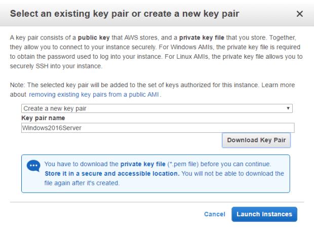 Create a new key pair