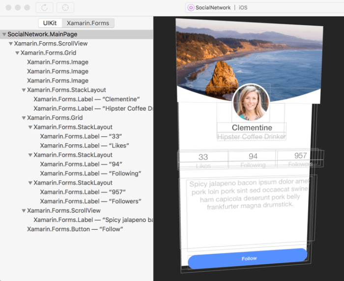 Xamarin Forms Layout Challenges – Social Network App
