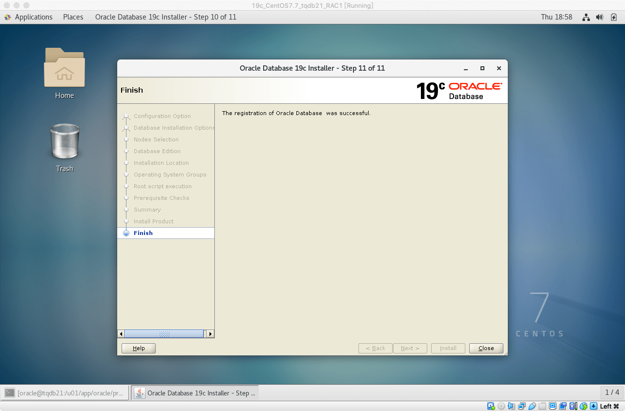 19cRACDB安装19DB软件安装完成