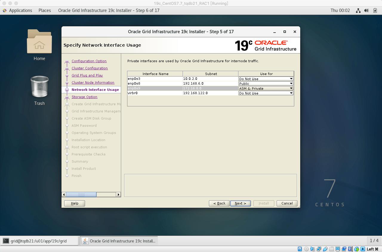 19cRACGRID安装13私有网络选ASM&Private