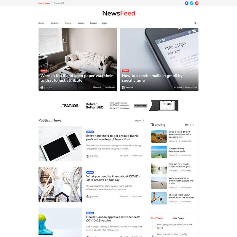 Newsfeed - Responsive News Magazine Bootstrap 5 Jekyll Theme - 5
