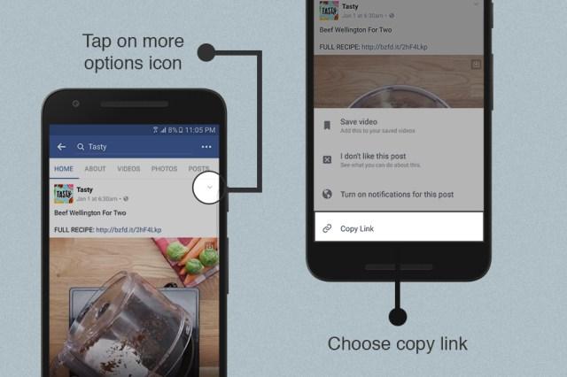 Unduh video Facebook dari aplikasi Facebook dengan menggunakan fitur saling tautan Videoder