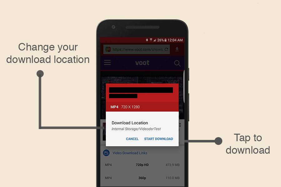 Select your download location and download Voot videos