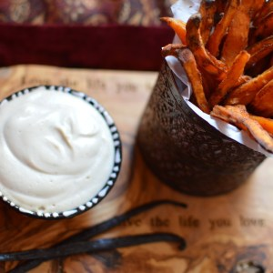Cinnamon Coconut Sugar Baked Sweet Potato Fries With Raw Vanilla Maple Cashew Cream