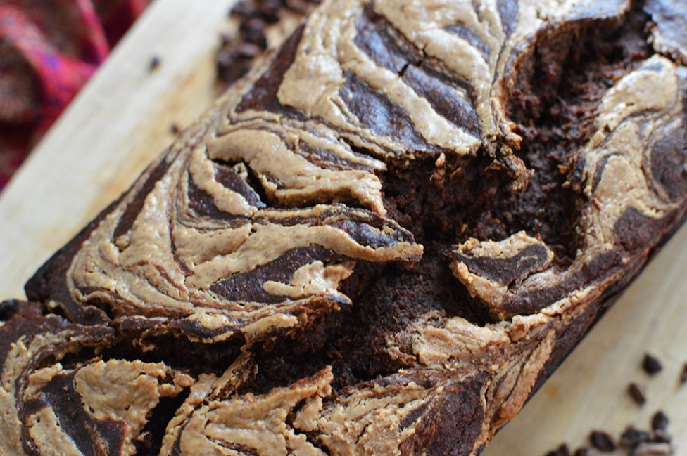 Vegan chocolate chip banana bread, swirled with peanut butter.