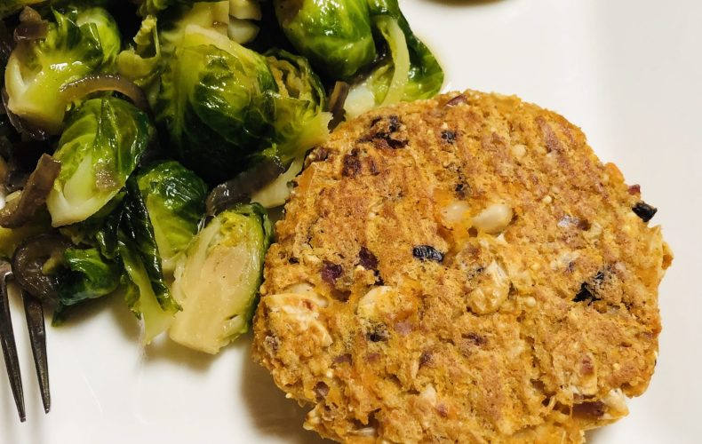 Veg patty and Brussels Sprouts