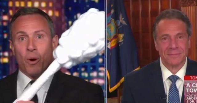 Watch: CNN's Cuomo Plays with Giant Swabs Instead of Questioning Brother's COVID Response