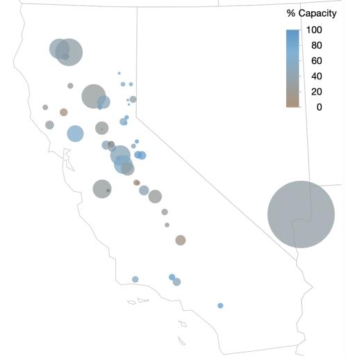 Bubble map of California reservoir levels.
