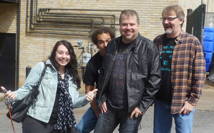 Jason Jack Miller surrounded by mad poets Stephanie Wytovich, John Edward Lawson and Mike Arnzen