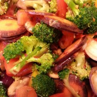 RAW MARINATED VEGETABLES WITH ALMOND CHILLI SAUCE