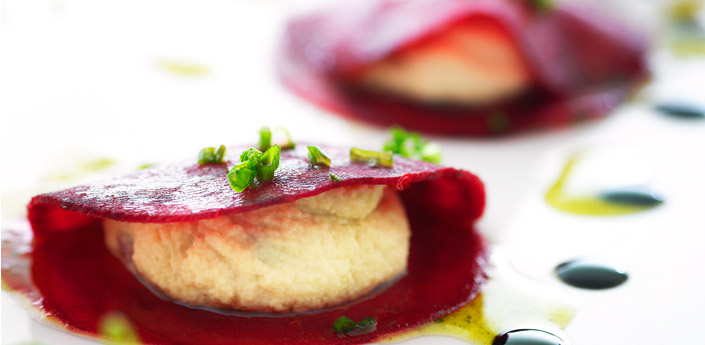 fine slices of beetroot stuffed with ricotta nut cheese