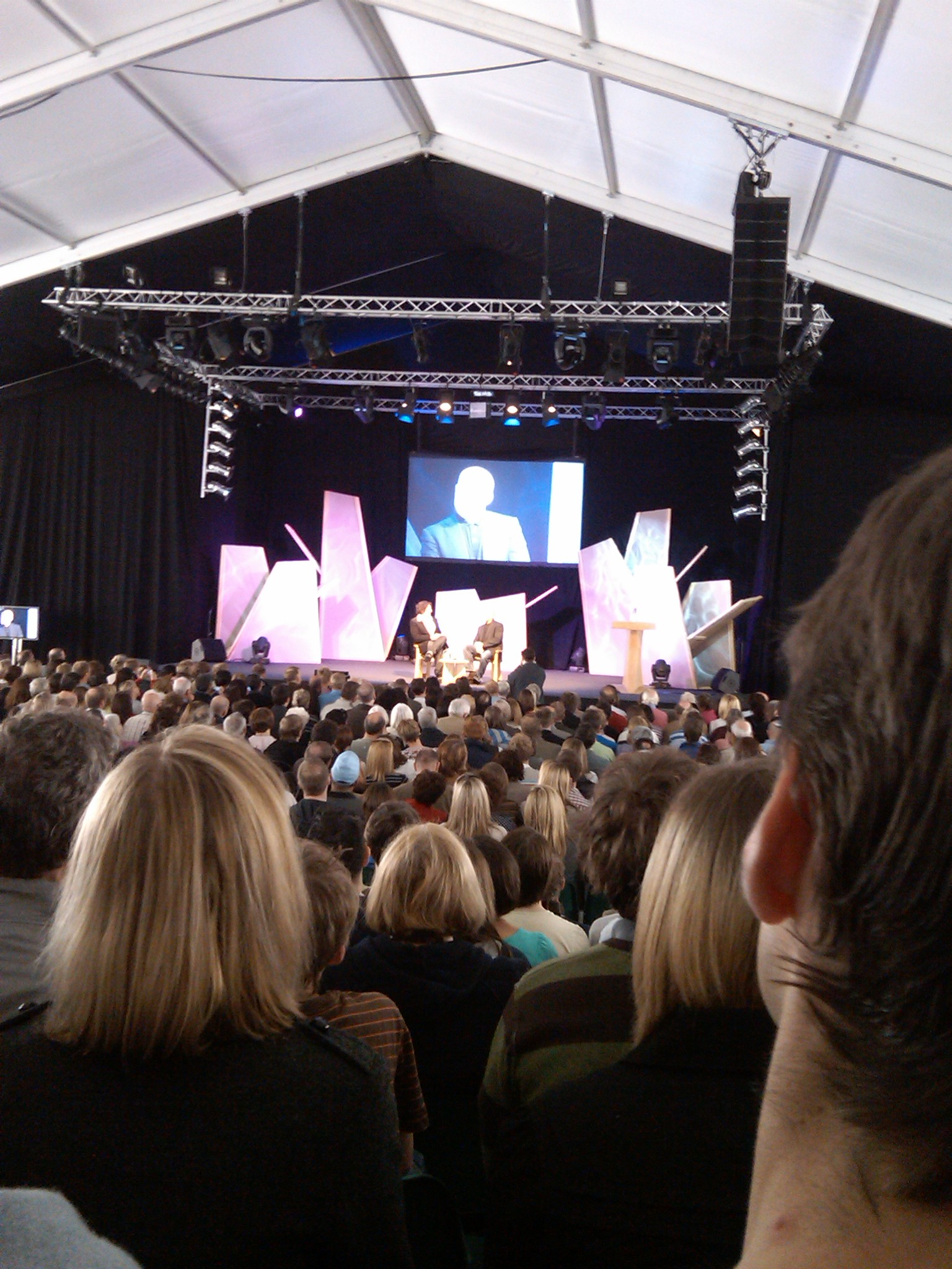 Blurry and distant pic of guru Heston Blumenthal at Hay Festival from the back seat