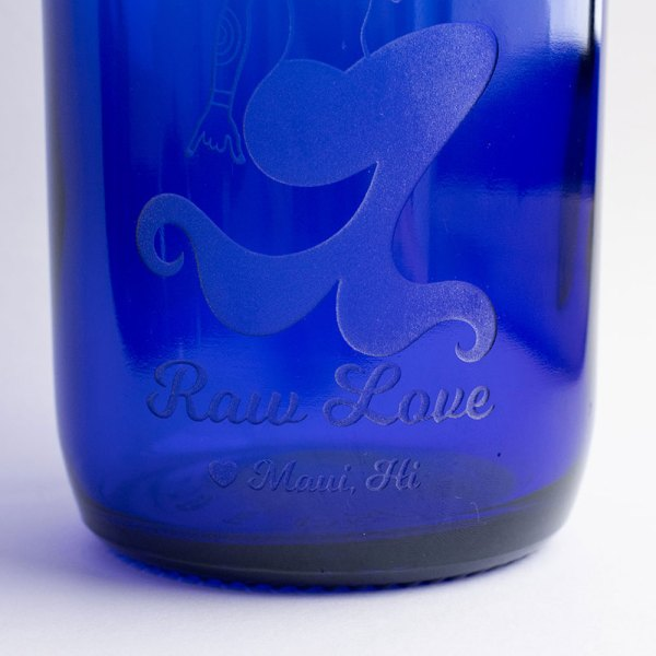 blue glass water bottle