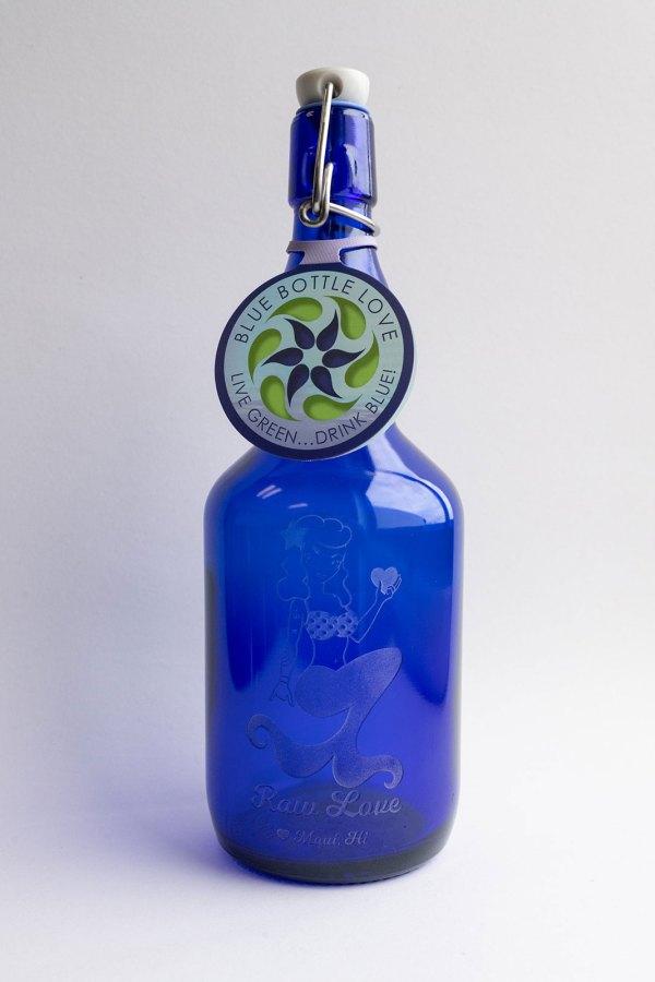 blue glass water bottle