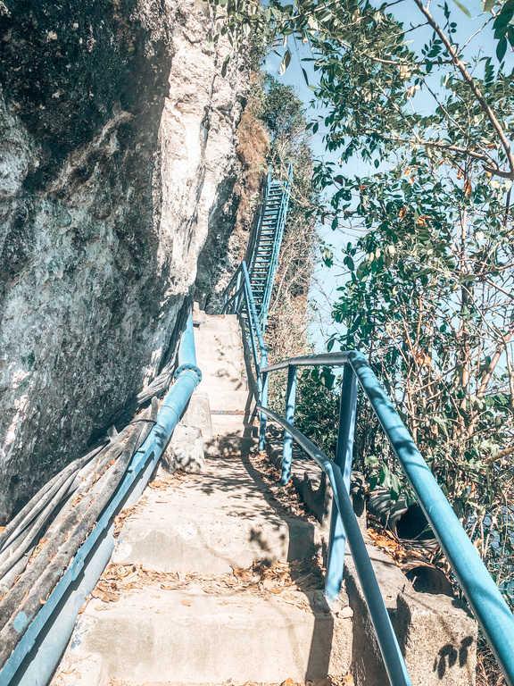 The blue stairs to Peguyangan Waterfall
