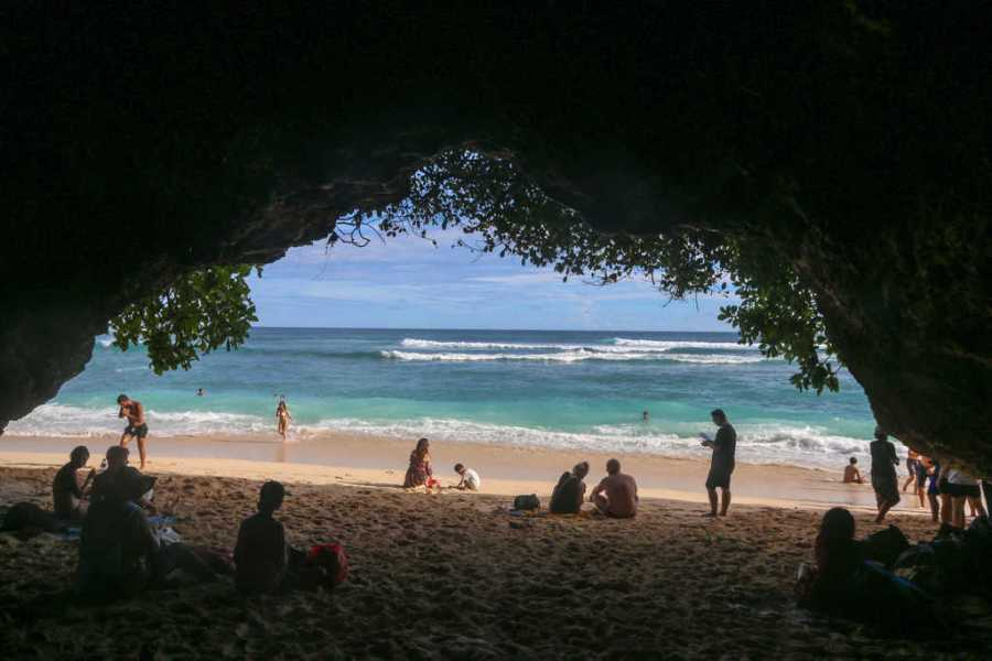 cave on green bowl beach