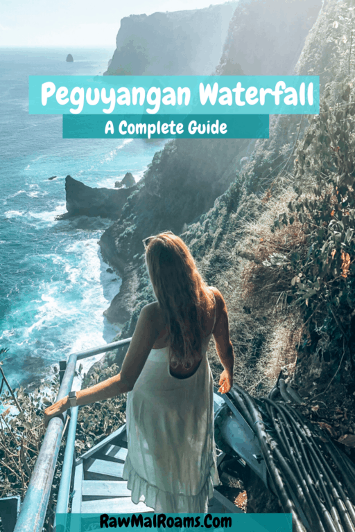 This is a comprehensive guide to everything you need to know about visiting Peguyangan Waterfall known as The Blue Stairs on Nusa Penida, Bali. #peguyangan #peguyanganwaterfall #nusapenida #balitravel #indonesia
