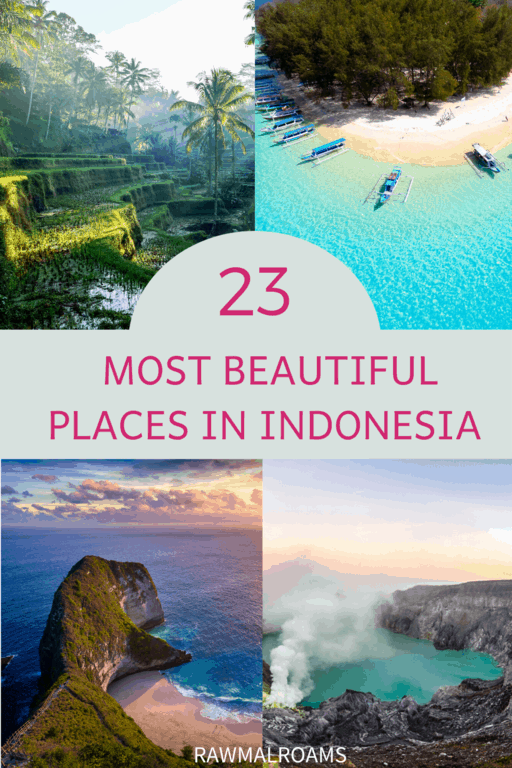 Get inspired with this list of 23 most beautiful places in Indonesia! #indonesiaplacestovisit #indonesiabucketlist #indonesia #indonesiaaesthetic