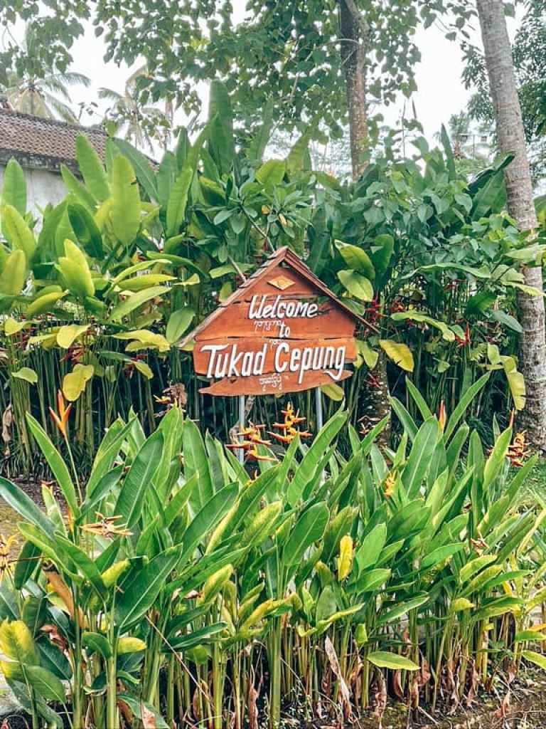 tukad cepung waterfall sign