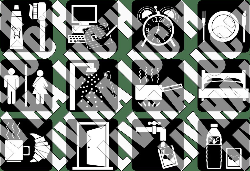 Set d'icones d'activités en lien avec les activités quotidiennes ou domestiques