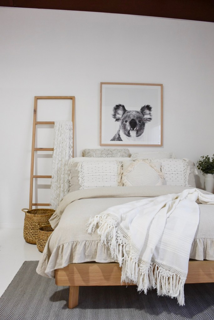 Australian inspired bedroom - timber bed made by RAW Sunshine Coast