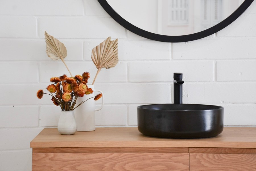 timber vanity with dried flowers Sunshine Coast