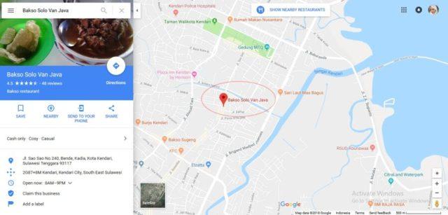 lokasi bakso svj kendari