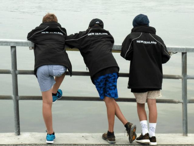 Eli, Hamish and Henry gazing wistfully at the sailing area at Travemunde