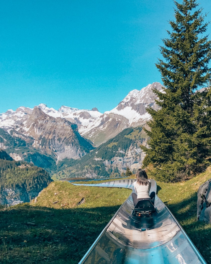 Rodelbahn bobsled Switzerland Oeschinensee Lake UNESCO