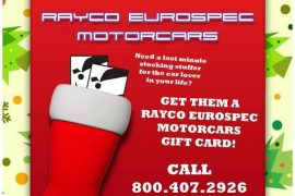 Great Gift Certificates at Rayco Eurospec Motorcars