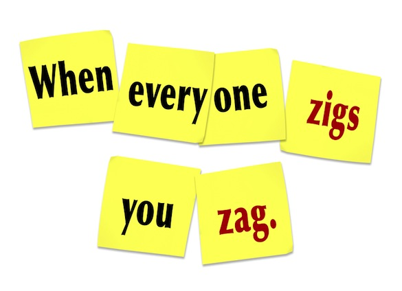 When Everyone Zigs You Zag Sticky Notes Saying Quote Ray Edwards